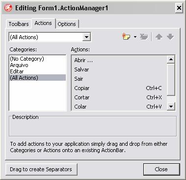 Configuração do Action Manager